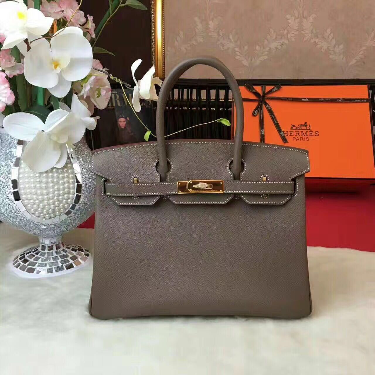 Hermes Birkin Bag Original Leather 17825 Grey