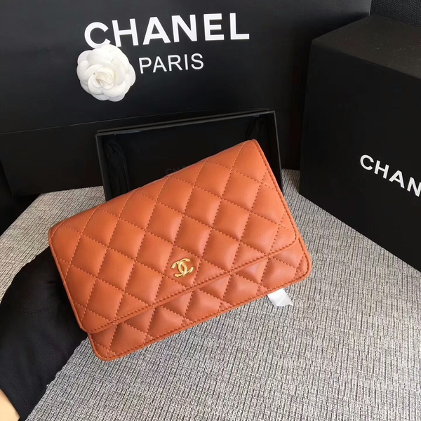 Chanel WOC Flap Bag Orange Original Sheepskin Leather 33814 Glod