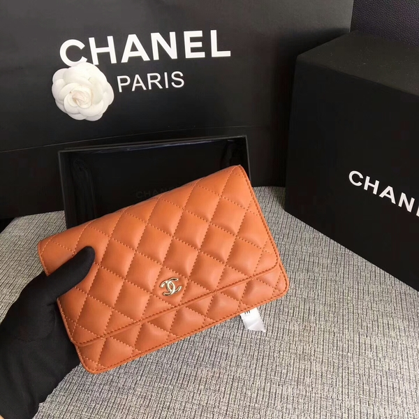 Chanel WOC Flap Bag Orange Original Sheepskin Leather 33814 Silver