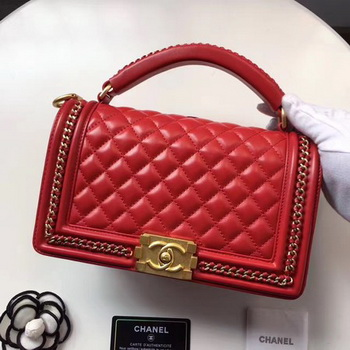 Boy Chanel Top Handle Flap Bag Original Sheepskin Leather A94804 Red