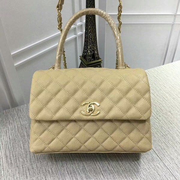 Chanel Caviar Leather Top Handle Bag 92991 Gold