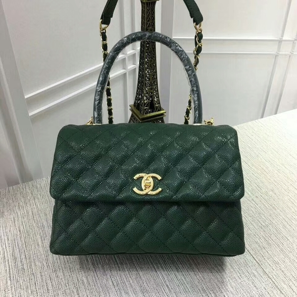 Chanel Caviar Leather Top Handle Bag 92991 Green