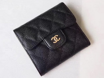 Chanel Tri-Fold Wallet Cannage Pattern Leather A48981 Black