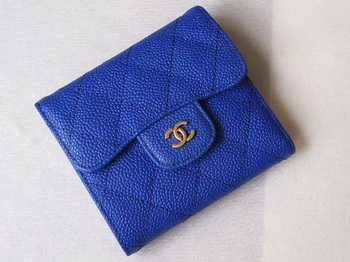 Chanel Tri-Fold Wallet Cannage Pattern Leather A48981 Blue
