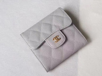 Chanel Tri-Fold Wallet Cannage Pattern Leather A48981 Grey