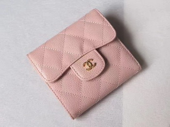 Chanel Tri-Fold Wallet Cannage Pattern Leather A48981 Pink