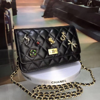Chanel WOC mini Flap Bag Calfskin Leather A33814 Black