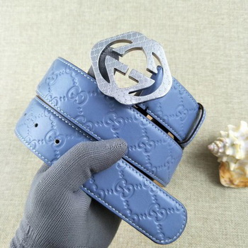 Gucci 38mm Leather Belt GG57098 Blue