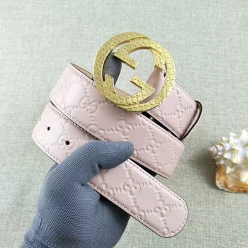Gucci 38mm Leather Belt GG57099 Pink
