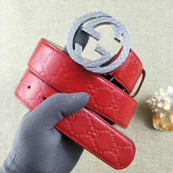 Gucci 38mm Leather Belt GG57099 Red