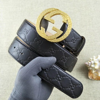 Gucci 38mm Leather Black Belt GG57099 Gold