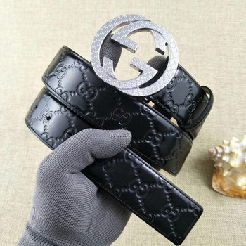Gucci 38mm Leather Black Belt GG57099 Silver