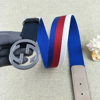 Gucci 40mm Leather Black Belt GG57560 Silver