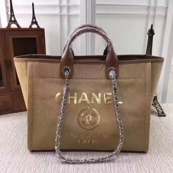 Chanel Canvas Tote Shopping Bag A68046 Apricot