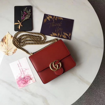Gucci GG Marmont Leather mini Chain Bag 431384 Red