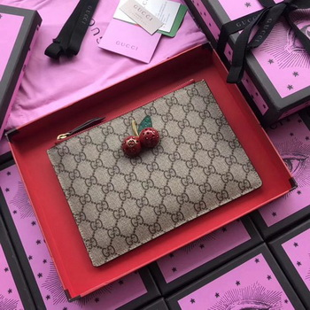 Gucci Original GG Canvas Clutch Cherries 475042 Red