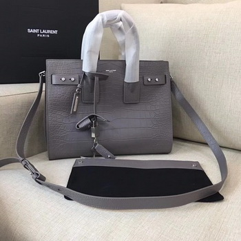 Yves Saint Laurent Classic Sac De Jour Bag Croco Leather Y398709 Grey