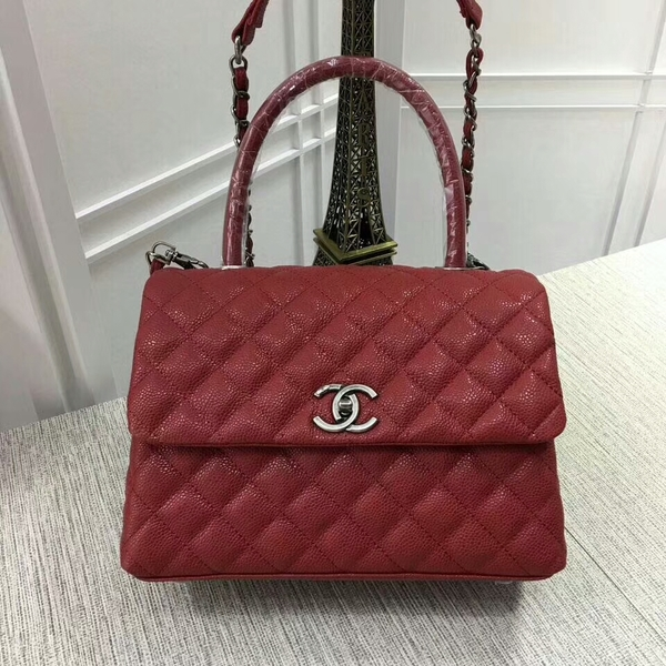 Chanel Caviar Leather Red Top Handle Bag 92991 Silver