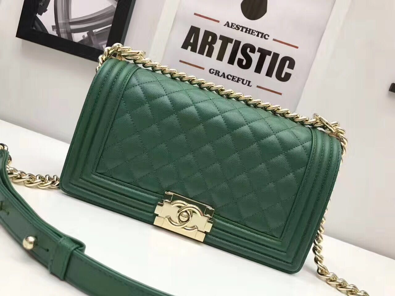 Boy Chanel Flap Shoulder Bag Original Leather A67086S Green