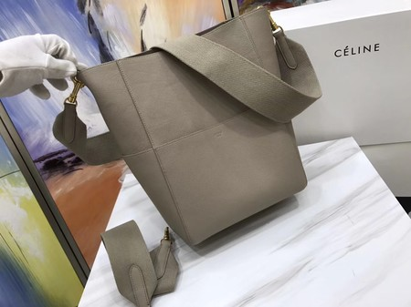 CELINE Sangle Seau Bag in Litchi Leather C3371 Apricot