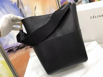 CELINE Sangle Seau Bag in Litchi Leather C3371 Black