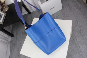 CELINE Sangle Seau Bag in Litchi Leather C3371 Blue