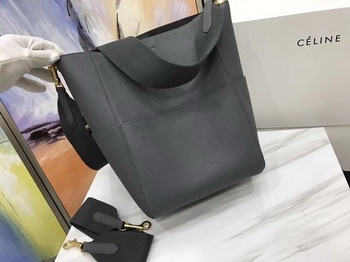 CELINE Sangle Seau Bag in Litchi Leather C3371 Grey