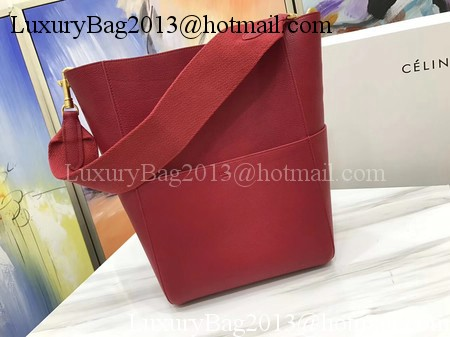 CELINE Sangle Seau Bag in Litchi Leather C3371 Red
