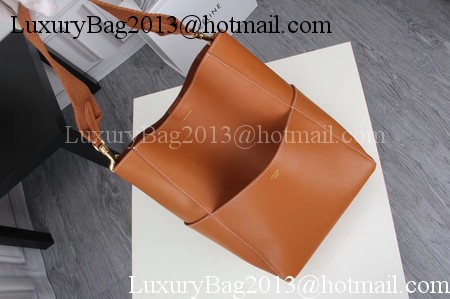 CELINE Sangle Seau Bag in Smooth Leather C3371 Brown
