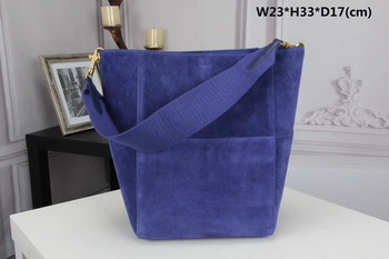 CELINE Sangle Seau Bag in Suede Leather C3371 Blue