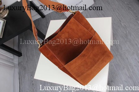 CELINE Sangle Seau Bag in Suede Leather C3371 Brown