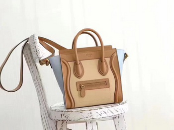 Celine Luggage Nano Tote Bag Original Leather CB3560 Apricot&Brown&Blue