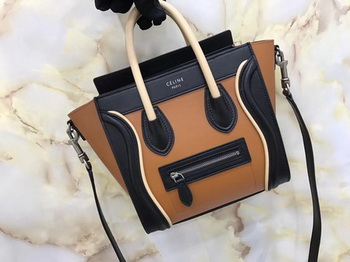 Celine Luggage Nano Tote Bag Original Leather CB3560 Brown&Black&Apricot