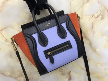 Celine Luggage Nano Tote Bag Original Leather CB3560 Purple&Brown&Black