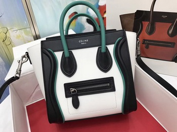 Celine Luggage Nano Tote Bag Original Leather CB3560 White&Black&Blue