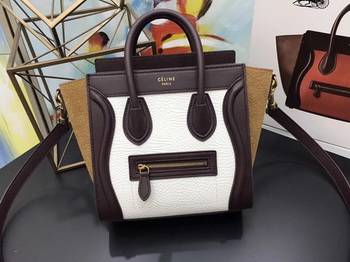Celine Luggage Nano Tote Bag Original Leather CB3560 White&Wine&Brown