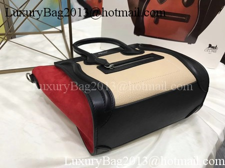 Celine Luggage Nano Tote Bag Original Leather CC3560 Apricot&Black&Red