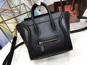 Celine Luggage Nano Tote Bag Original Leather CC3560 Black