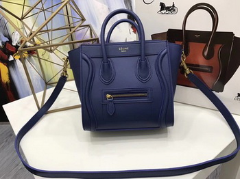 Celine Luggage Nano Tote Bag Original Leather CC3560 Blue