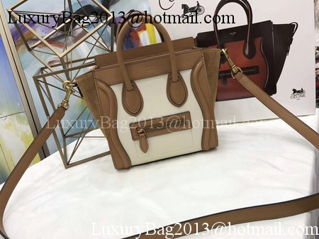 Celine Luggage Nano Tote Bag Original Leather CC3560 Brown&White