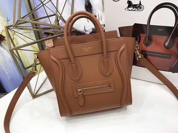 Celine Luggage Nano Tote Bag Original Leather CC3560 Brown