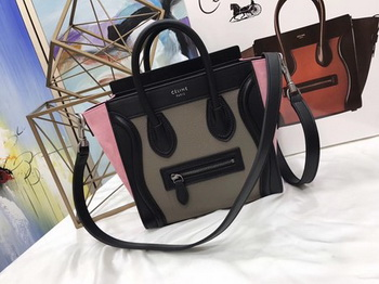 Celine Luggage Nano Tote Bag Original Leather CC3560 Grey&Black&Pink