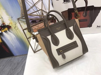 Celine Luggage Nano Tote Bag Original Leather CC3560 Grey&White&Brown