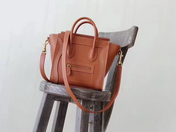 Celine Luggage Nano Tote Bag Original Leather CC3560 Orange