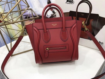 Celine Luggage Nano Tote Bag Original Leather CC3560 Red