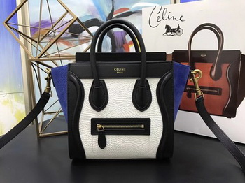 Celine Luggage Nano Tote Bag Original Leather CC3560 White&Black&Blue