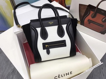 Celine Luggage Nano Tote Bag Original Leather CC3560 White&Black