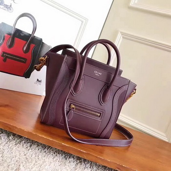Celine Luggage Nano Tote Bag Original Leather CC3560 Wine