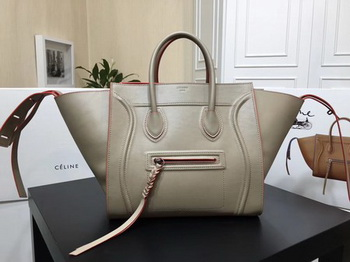 Celine Luggage Phantom Tote Bag Calfskin Leather CT3372 Grey&Orange
