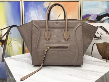 Celine Luggage Phantom Tote Bag Croco Leather CT3372 Apricot